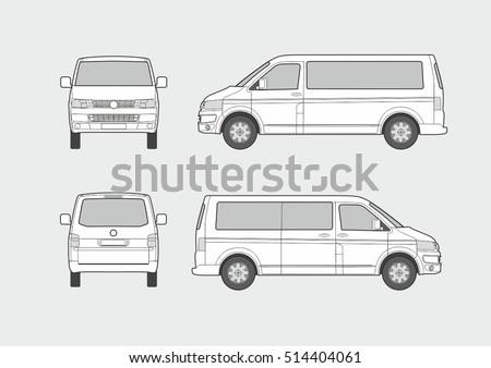 Free vw camper vector download free vector art stock graphics vector blueprint of passenger minivan malvernweather Images