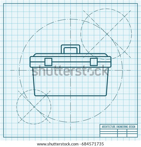Vector blueprint toolkit icon on engineer and architect background . Industrial equipment