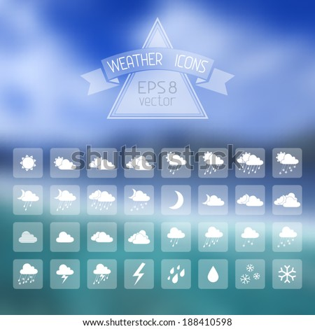 Vector blur landscape with weather icons. Vector blur landscape with weather icons. Blur retro backdrop. Travel design. There is place for your text.