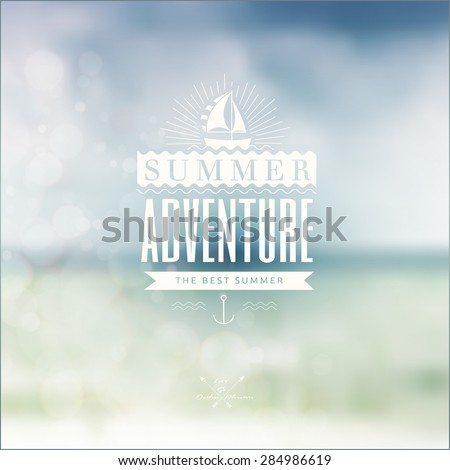 Vector blurred landscape background with summer adventure badge