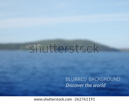 Vector.Blurred landscape, lake views mountains and sky.Seascape