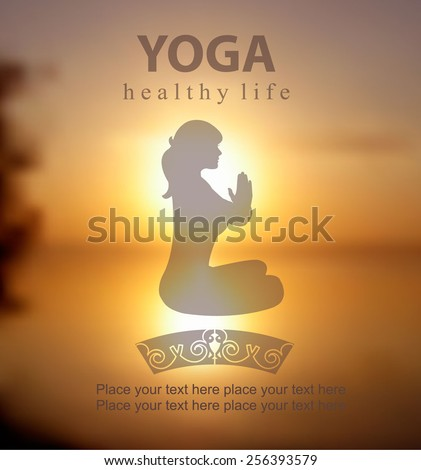 Vector blurred sunset background with  Silhouette of Young Woman Practicing Yoga In the Lotus Position, her hands in prayer  Yoga class. Yoga exercises and recreation. Healthy Lifestyle Concept