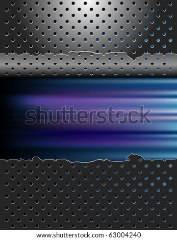 vector blurry color background with damaged metal plate