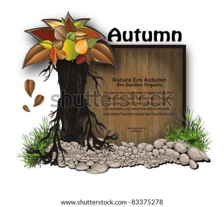 vector board wood stone tree