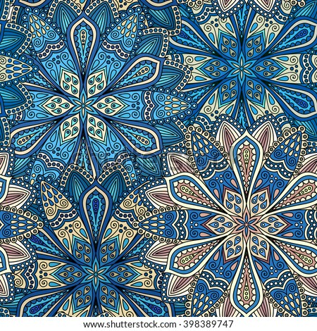 Vector boho chic flower seamless pattern. Elegant floral background for wallpaper, gift paper, fabric print, furniture, curtains. Mandala design element. Unusual flourish ornament. Blue, brown, beige