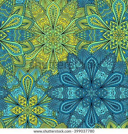 Vector boho chic flower seamless pattern. Elegant floral background for wallpaper, gift paper, fabric print, furniture, curtains. Mandala design element. Unusual flourish ornament. Blue, green, yellow