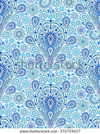 Vector boho chic paisley seamless pattern. Elegant oriental background for wallpaper, gift paper, fabric print, furniture. Mandala design element. Unusual flourish blue ornament. Sea water motif.