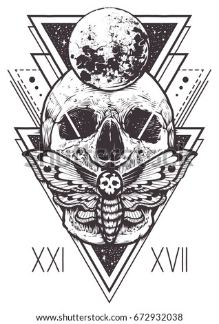 vector boho design of skull