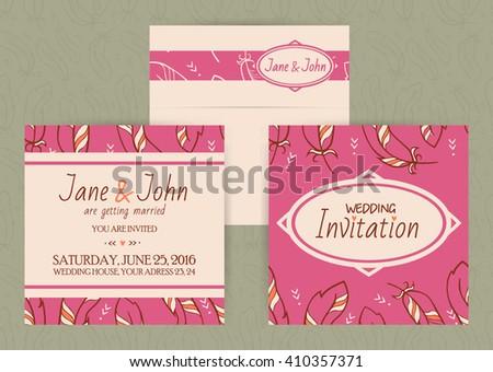 Vector boho wedding invitation and envelope ez canvas vector boho wedding invitation and envelope stopboris Choice Image