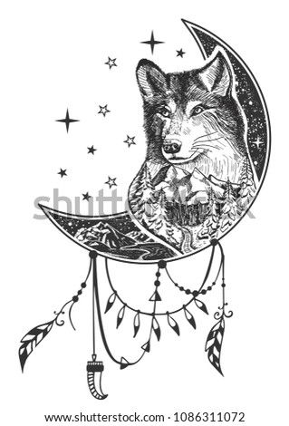vector boho wolf tattoo or t