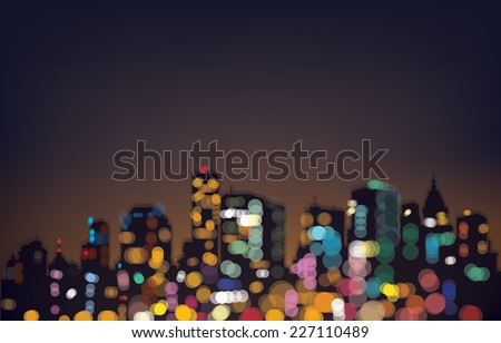 vector bokeh night city