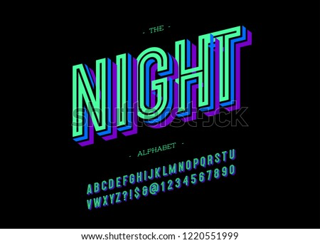 Vector bold night font trendy typography colorful style for decoration, logo, party poster, t shirt, book, greeting card, sale banner, printing on fabric. Cool 3d typeface. Modern alphabet. 10 eps