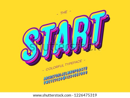 Vector bold start font trendy typography for decoration, logo, party poster, t shirt, book, greeting card, sale banner, printing on fabric. Cool 3d typeface. Modern alphabet. 10 eps