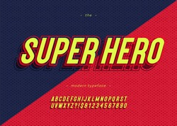Vector bold super hero font trendy typography color style for decoration, logo, party poster, t shirt, book, greeting card, sale banner, printing on fabric. Cool 3d typeface. Modern alphabet. 10 eps