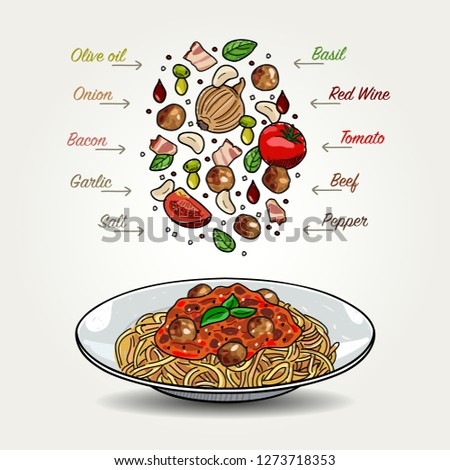 Vector Bolognese Spaghetti with Meatballs Ingredients Falling Down to Plate