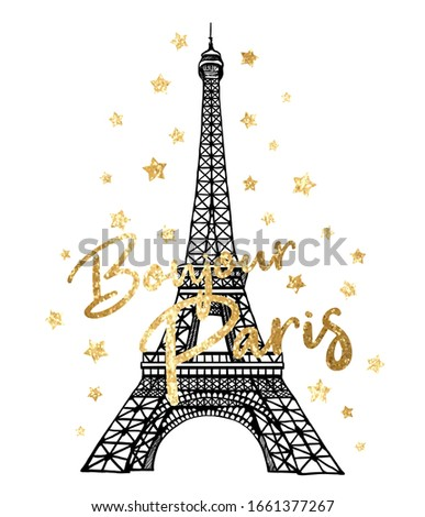 Vector Bonjour Paris romantic illustration with gold glitter stars and Eiffel Tower. France hand drawn symbol on white background Photo stock ©