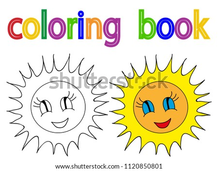 vector, book coloring sun