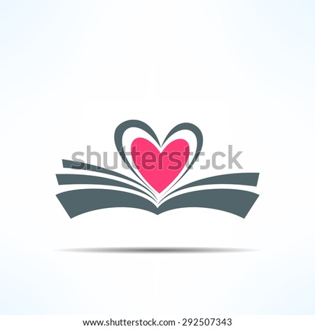 vector book icon with heart