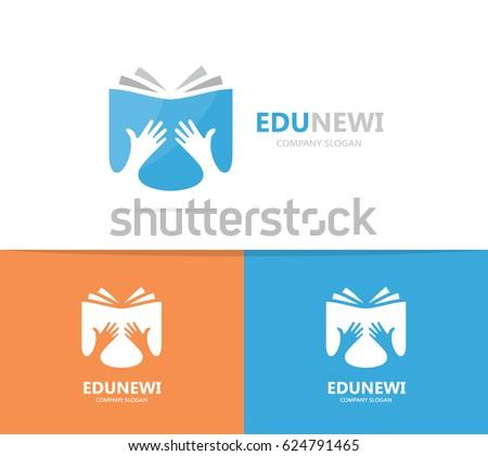 Vector book logo combination. Arm and library symbol or icon. Unique bookstore logotype design template.