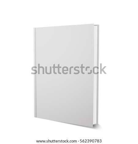 Vector book template, upright, realistic design, isolated on white