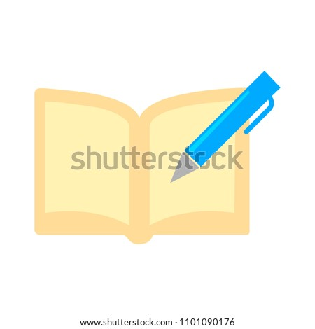 vector book with pen sign, education icon - business symbol isolated