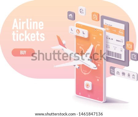Vector booking or buying airline tickets app concept. Smartphone with airplane, airports map, electronic or digital airline ticket, icons with services Foto stock ©