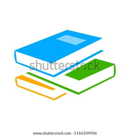 vector Books library illustration - literature symbol, education icon