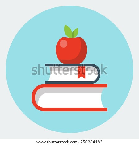 Vector books with apple flat icon