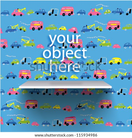 Vector bookshelf over childish background with little cars pattern