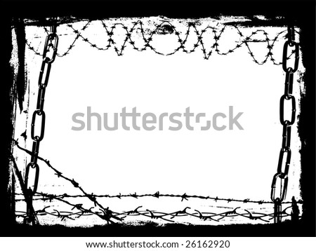 Vector Border Graphic with grunge elements and black chains and Barbed Wire