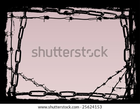 Vector Border Graphic with grunge elements black chains and barbed wire
