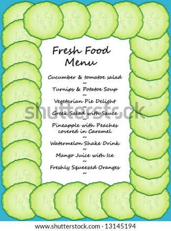 Vector Border of Fresh Cucumber Slices (Fill center with your own text or pictures)
