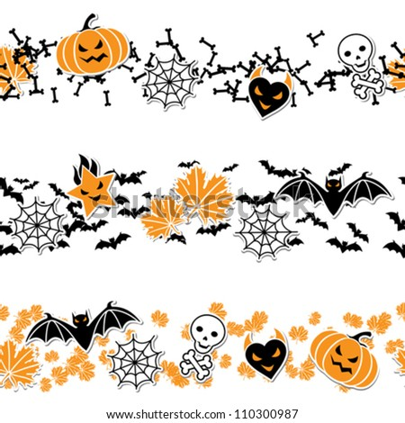 Vector border of Halloween-related objects and creatures.