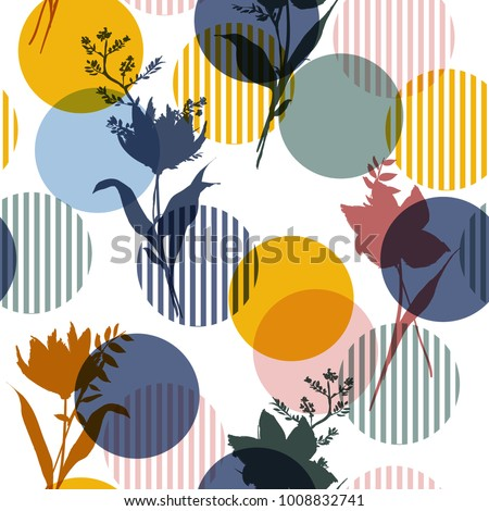 Vector botanic silhouette floral seamless pattern on modern colorful stripe polka dot, delicate flower wallpaper, wild flowers  wallpaper on white  background