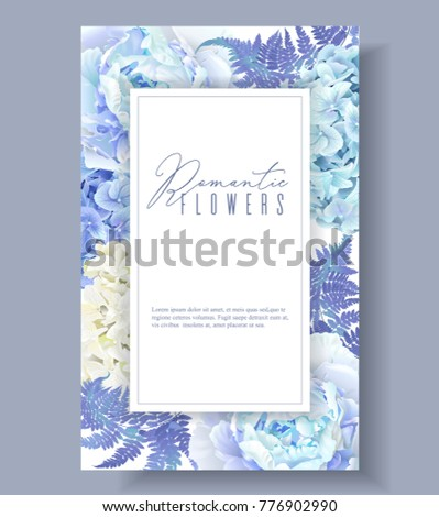 Vector botanical banner with blue peony, hydrangea and fern. Floral design for natural cosmetics, perfume, women products. Best for greeting card, wedding invitation. Can be used as winter background