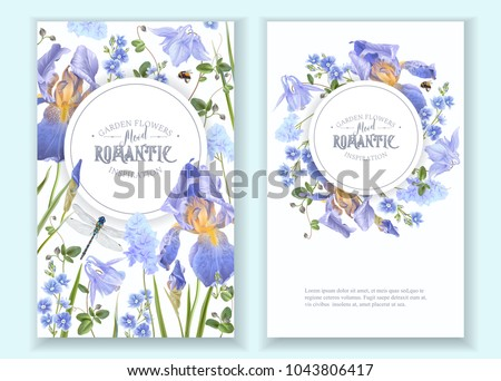 Vector botanical banners with blue flowers and dragonfly on white. Floral design for natural cosmetics, perfume, women products. Can be used as greeting card, wedding invitation, spring background