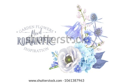 Vector botanical composition with blue flowers on white background. Floral design for natural cosmetics, perfume, women products. Can be used for greeting card, wedding invitation, spring background