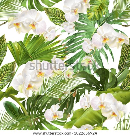 stock-vector-vector-botanical-seamless-pattern-with-tropical-leaves-orchid-flowers-on-white-background-design