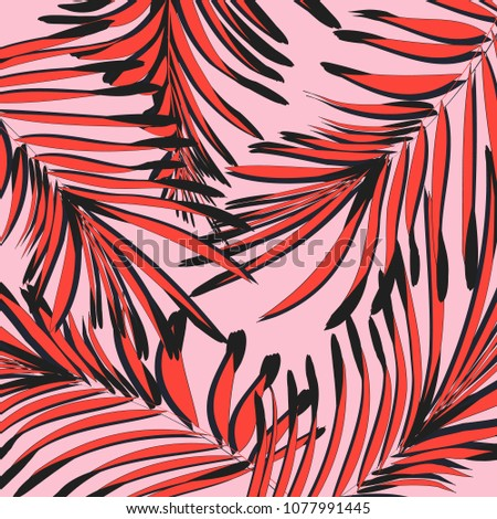 Vector botanical summer pattern in pink red colors. Leaf texture with tropical decoration. Foliage exootic graphic wallpaper. Island tribal interior floral element.