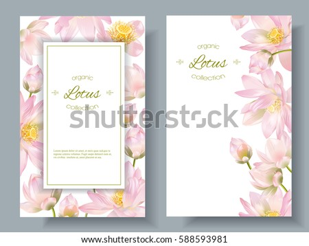 Vector botanical vertical banners with lotus flowers on white background. Design for natural cosmetics, health care & ayurveda products, yoga center. Can be used as greeting card or wedding invitation