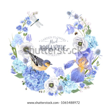 Vector botanical wreath with blue flowers and bird on white background. Floral design for natural cosmetics, perfume, women product. Can be used as greeting card, wedding invitation, spring background