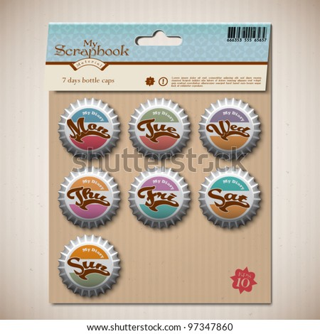 Vector Bottle Caps for Diary Scrapbook Design