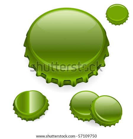 """Vector Bottle Caps - Green  """"Full compatible - gradients"""""""