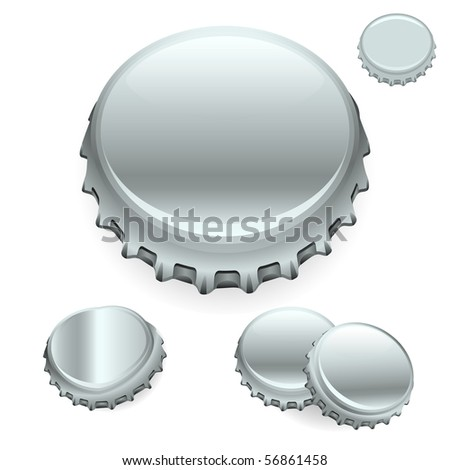 "Vector Bottle Caps - Silver  ""Full compatible - gradients"""