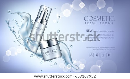 vector bottle cosmetic mockup on blue background, with your brand, ready for print ads or magazine design. Transparent and shine, realistic 3d style #659187952