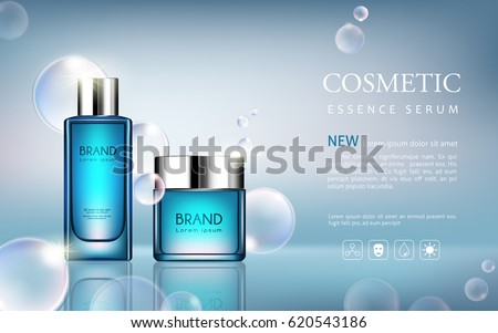 vector bottle serum cosmetic mockup on blue background, with your brand, ready for print ads or magazine design. Transparent and shine, realistic 3d style #620543186