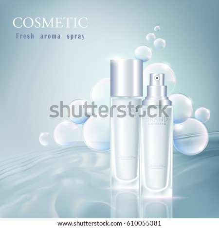 vector bottle toner cosmetic mockup on blue background, with your brand, ready for print ads or magazine design. Transparent and shine, realistic 3d style #610055381