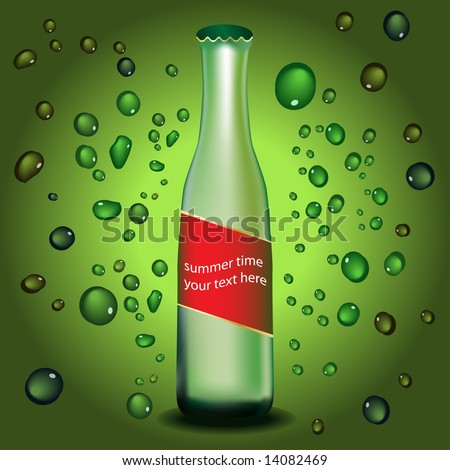 Vector - Bottle with label and water droplets. Colors can be changed. Concept: Cooling refreshing summer