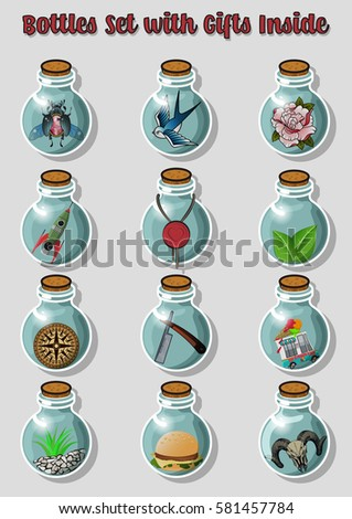 vector bottles set with gifts
