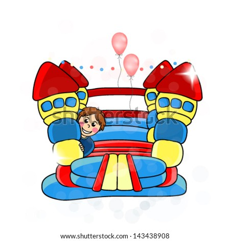 Vector bouncy castle -  children's entertainment